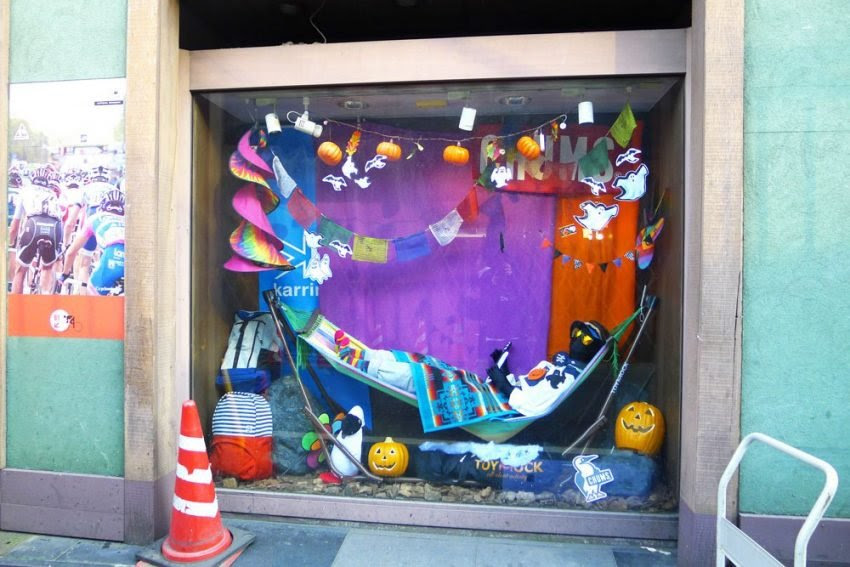 25 Examples of Halloween Retail Displays to Inspire You - Colorful Sporting Goods Display - Halloween Retail Displays - Halloween Retail Ideas - Halloween Display Ideas