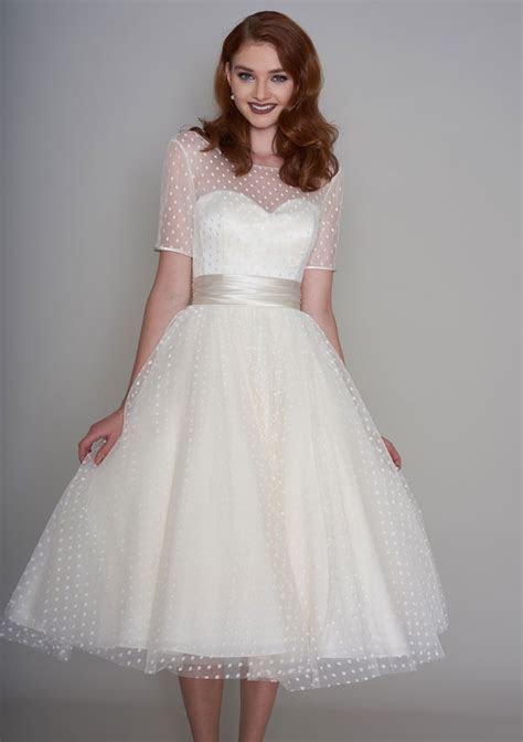 86 nellie Classic Fifties style tea length wedding dress