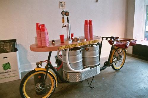 the hopworks urban brewery beer bike