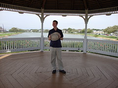 Pete in the gazebo--you can see the lake and how big the gazebo is.