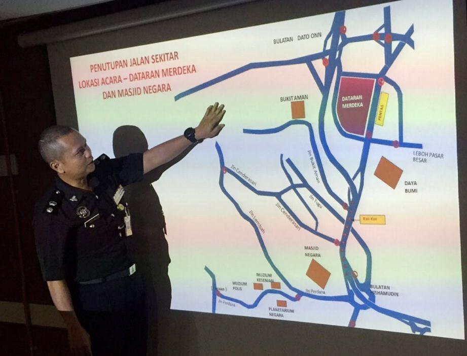 Image result for Jalan ditutup hari kebangsaan 2016