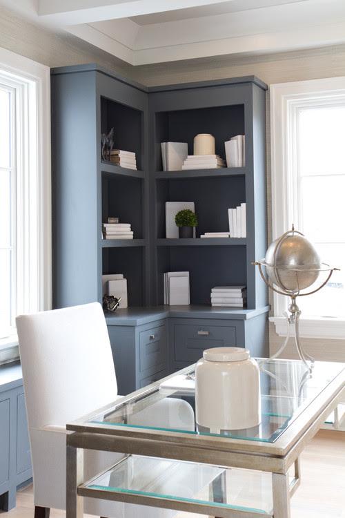 corner bookcase workspace