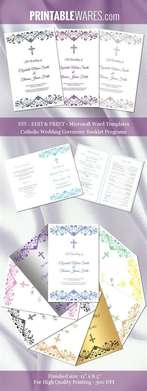 Catholic wedding program templates for Microsoft Word. You
