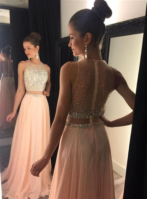 2017 Two Piece Prom Dresses for Teens Chiffon Beaded Long