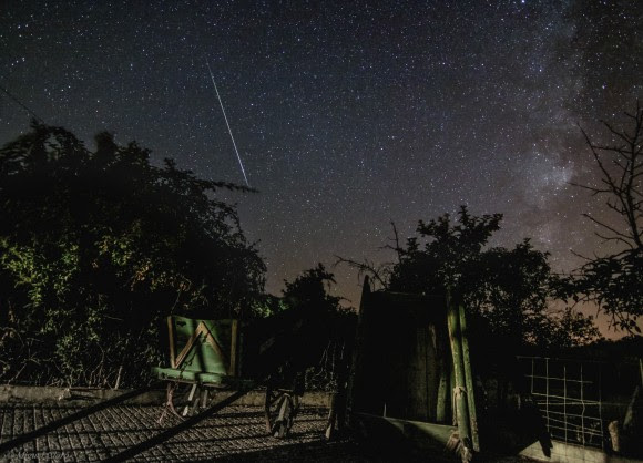 A Perseid meteor on August 11, 2014 seen over the Alqueva Dark Sky Reserve near Alentejo, Portugal. Credit and copyright: Miguel Claro.