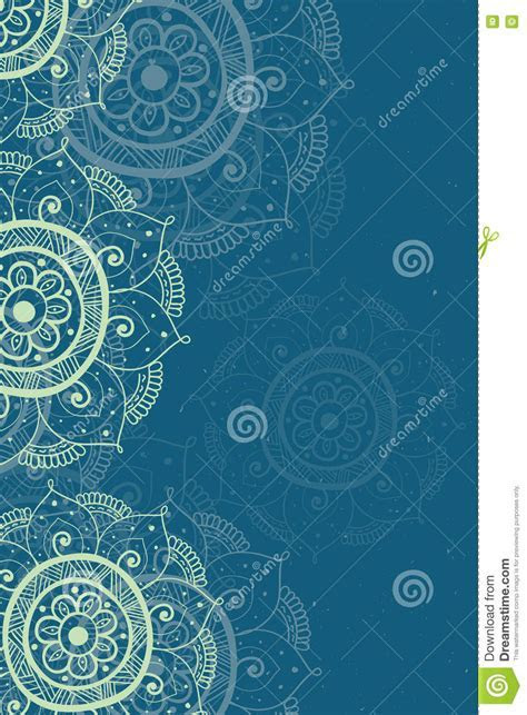 Ethnic Invitation Card Blue Background Stock Vector
