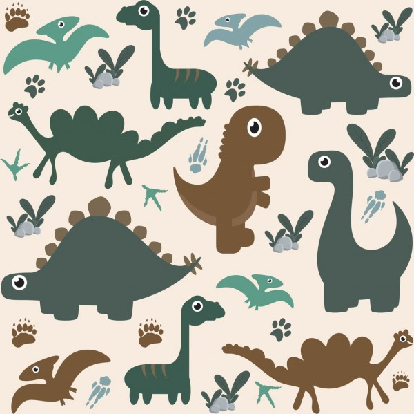 Dinosaurus Latar Belakang Datar Ikon Berwarna Kartun Desain Vektor