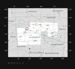Location of TRAPPIST-1 in the constellation Aquarius. Credit: ESO/IAU and Sky & Telescope.
