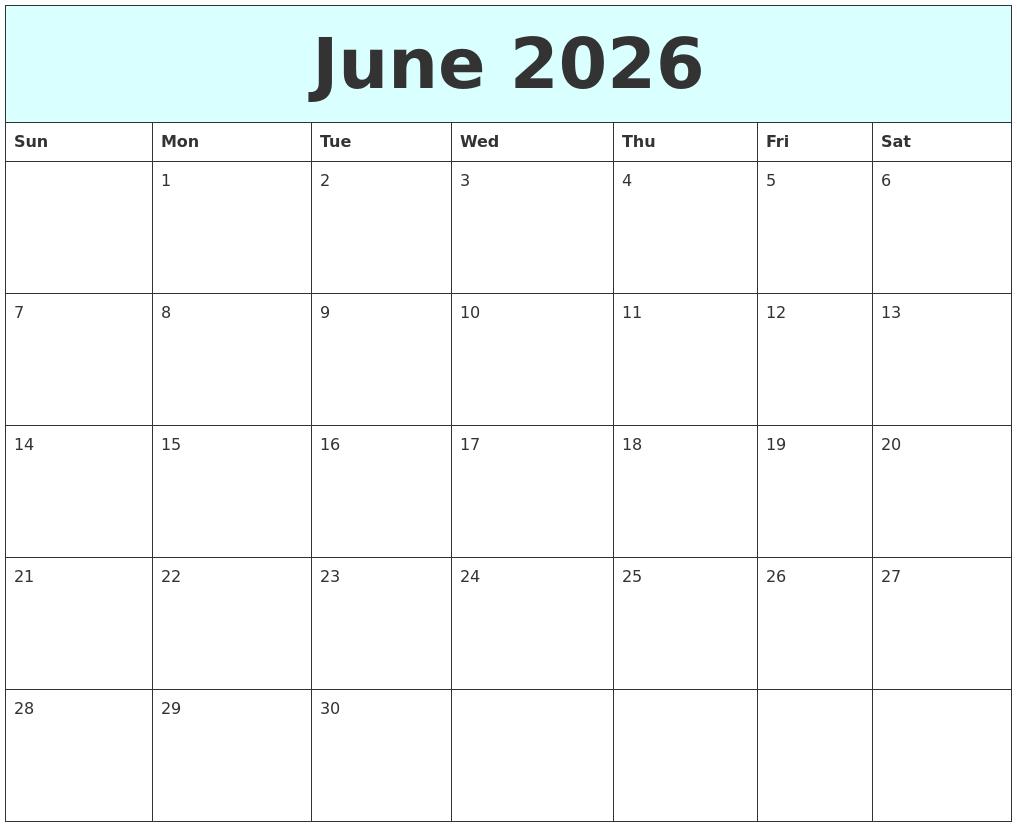 june 2026 free calendar