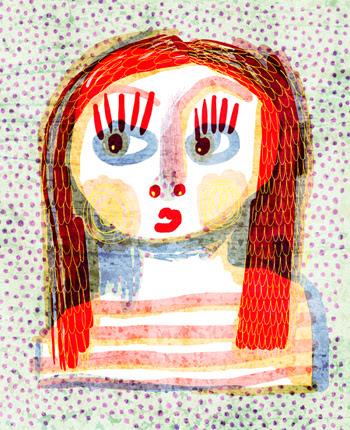 Jacinthe Chevalier image numérique fille couleur pois mauve sourire amitié