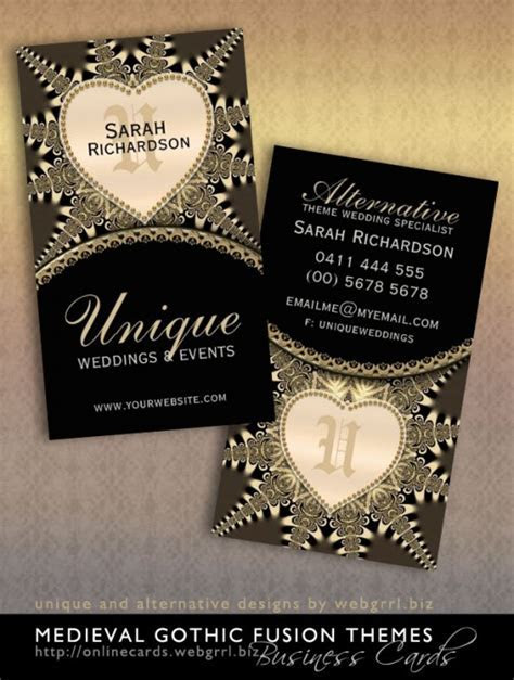 Medieval Vintage Gold Unique Wedding Business Cards Design