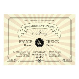 Elegant Vintage Engagement Party Invitation