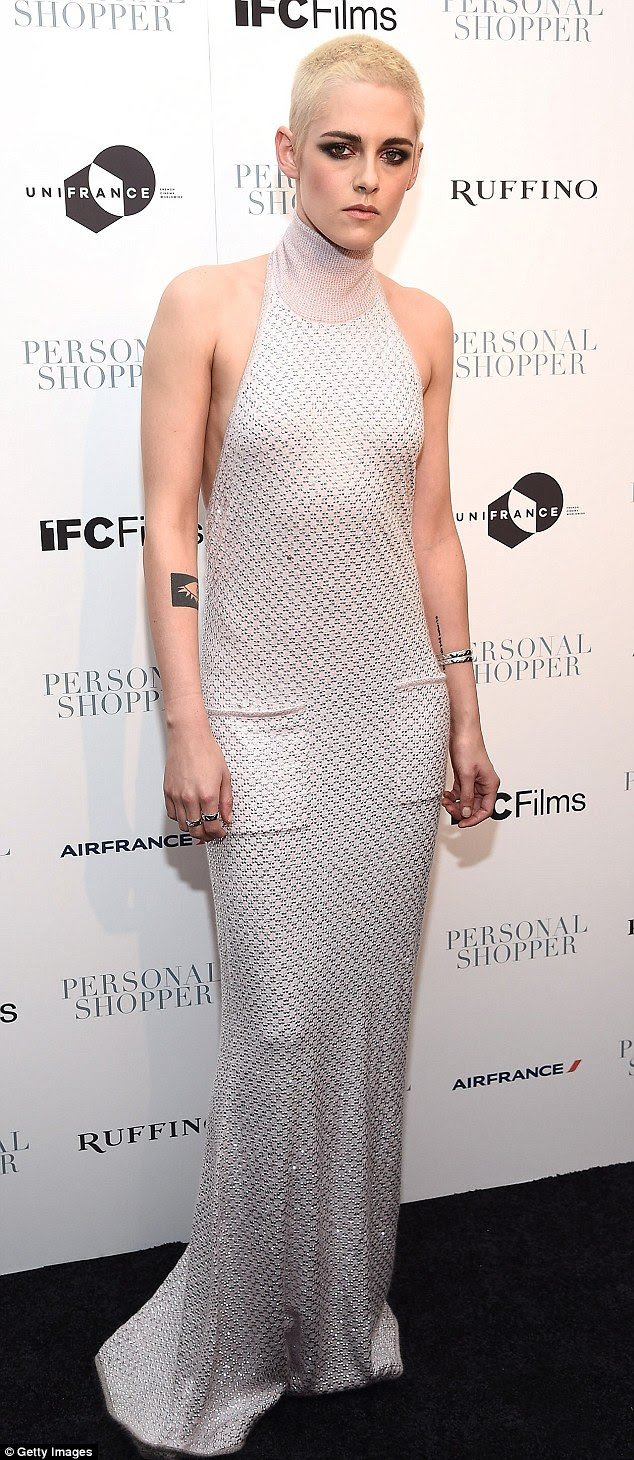Drastic contrast: Kristen Stewart, 26, rocked the contrast between edgy and elegant at the Personal Shopper premiere in New York City on Thursday night