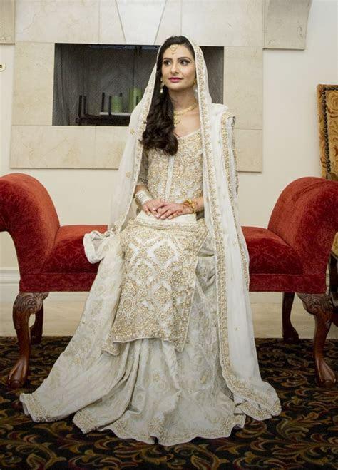 White and gold Pakistani bridal, long shirt with lehenga