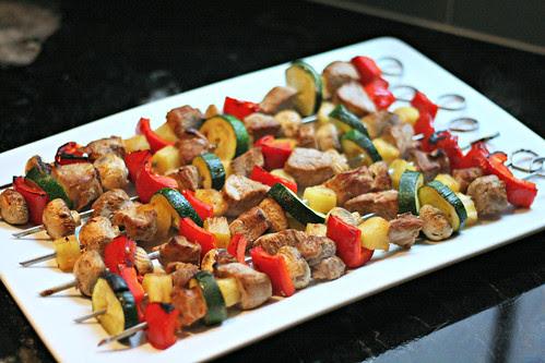 tropical pork pineapple kebabs