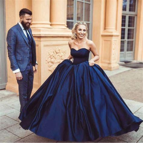 navy blue satin satin sweetheart ball gowns wedding