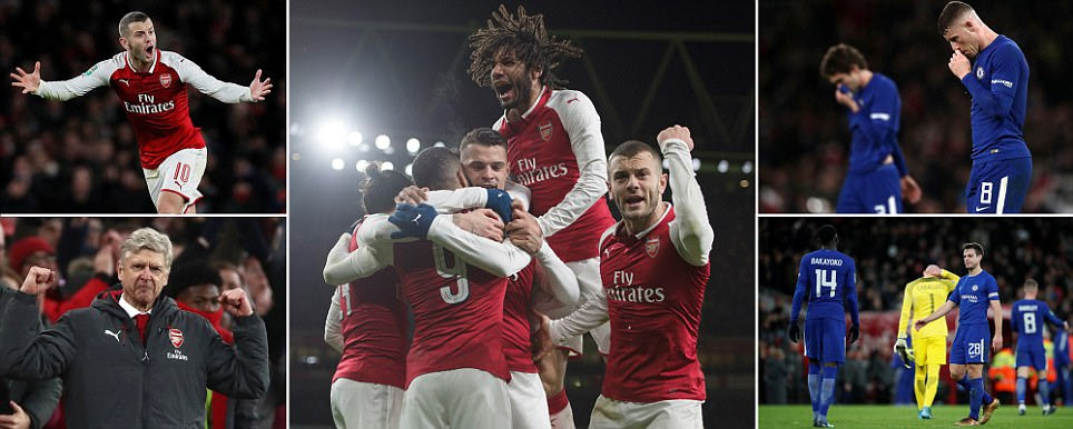 Arsenal 2-1 Chelsea (agg 2-1): Gunners book Wembley spot
