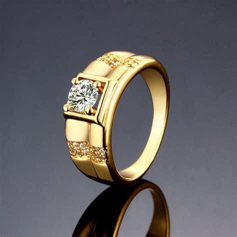 Elegant Men Jewelry Gold Plated Square Pattern Cubic