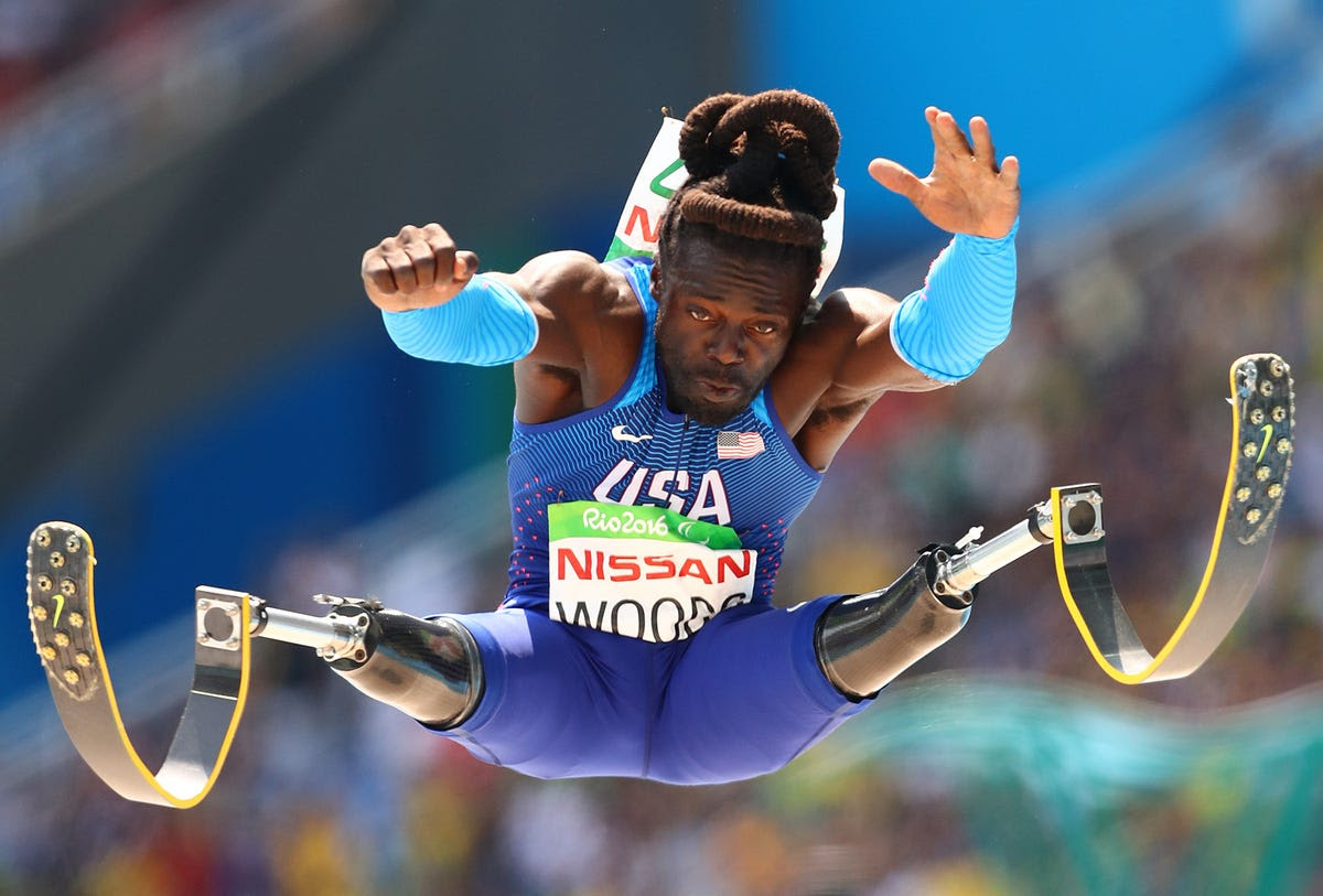 Regas Woods of Team USA competes in the men's long jump.