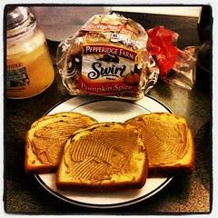 #noelectricity #breakfast #pepperidgefarm #pumpkinspice #bread and #peanutbutter #yumo #sodelicious #fall #pumpkin