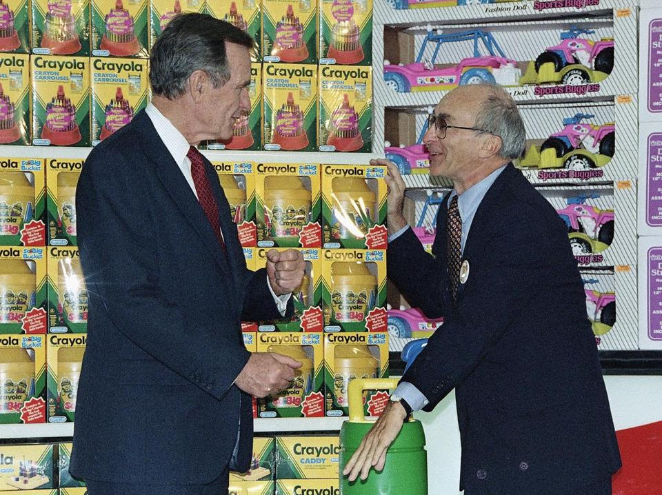 """President Bush visited Mr. Lazarus at a Toys R Us store opening in Japan in 1992. Mr. Lazarus said of his success, """"When you look at what the creativity of the toy market is, you have to have imagination, you have to think like a child."""""""