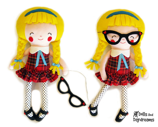 Schoolgirl Doll Sewing Pattern glasses copy