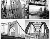 SALE Set of 4 Bridge Urban images 5x5 fine art photos black and white kinzua pa steel portland guffy bridge idaho sixth st pittsburgh - brandMOJOimages