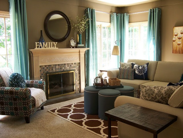 Brown Living Room Decorating Ideas, Brown And Teal Dining Room