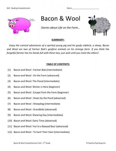 Reading Prehension Worksheet Bacon And Wool Collection