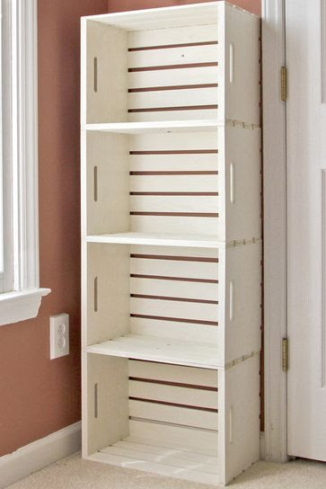 Cute shelf!!  Crate bookshelf made from wooden crates from the craft store (Michaels under $13).