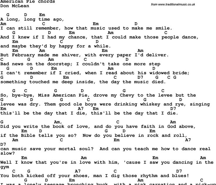 NEW SONG LYRICS FOR AMERICAN PIE