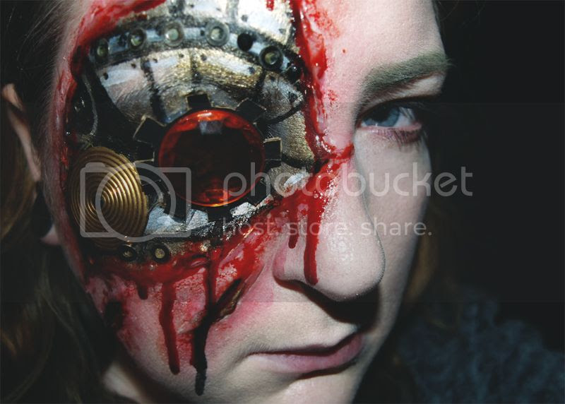 Halloween makeup tutorial, Steampunk Cyborg, Horror, Bloody, SFX