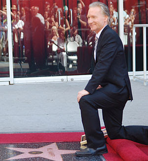 English: Bill Maher next to his star at a cere...