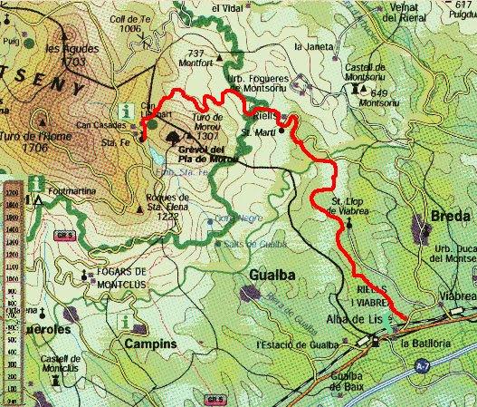Mapa (Montseny.  Riells del Montseny)