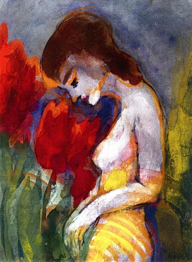 Naked Woman and Red Flowers (also known as Semi-Nude) Emil Nolde - 1938-1945