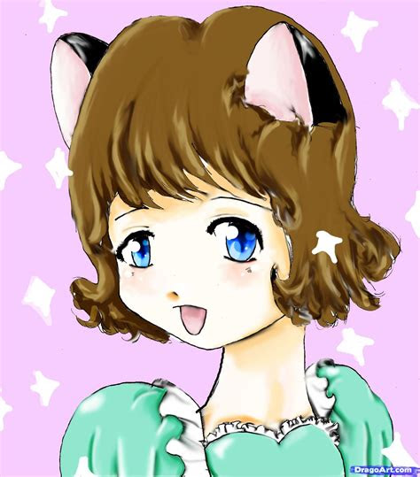 draw  cat girl step  step anime characters
