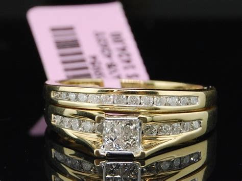 Princess Cut Diamond Bridal Set 10K Yellow Gold Ladies