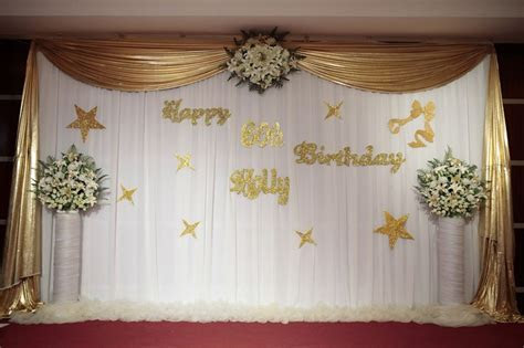 stage decorations   60th birthday party   golden theme in