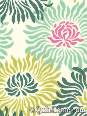 Freshcut™ Laminate OCHB007-Turquoise Laminate Fabric by Heather Bailey