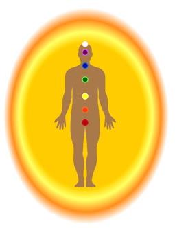 Image: male with 7 chakras & yellow-orange aura.