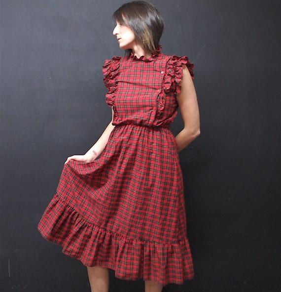 vintage 80s red tartan plaid ruffle prairie dress