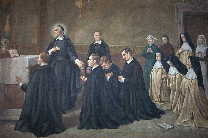 St. John Eudes with fathers and sisters of the congregation founded by himself. Painted for the ceremony of beatification of Eudes, 1909