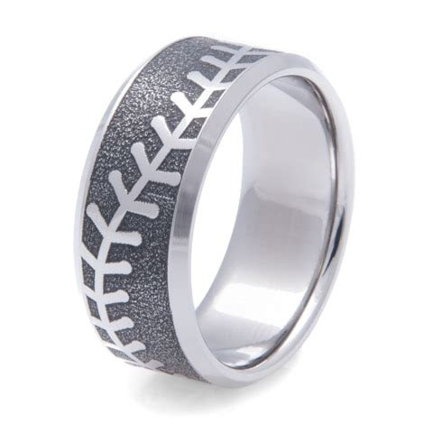 mens laser engraved baseball ring titanium buzz