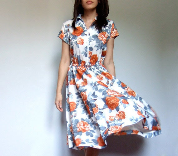Vintage 70s Dress Floral Fall Autumn Gray Orange M