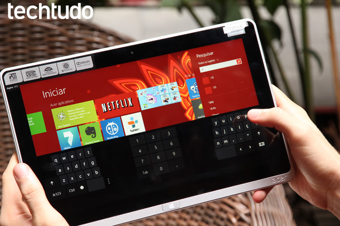 Sistema rodando com teclado virtual (Foto: Luciana Maline/TechTudo)