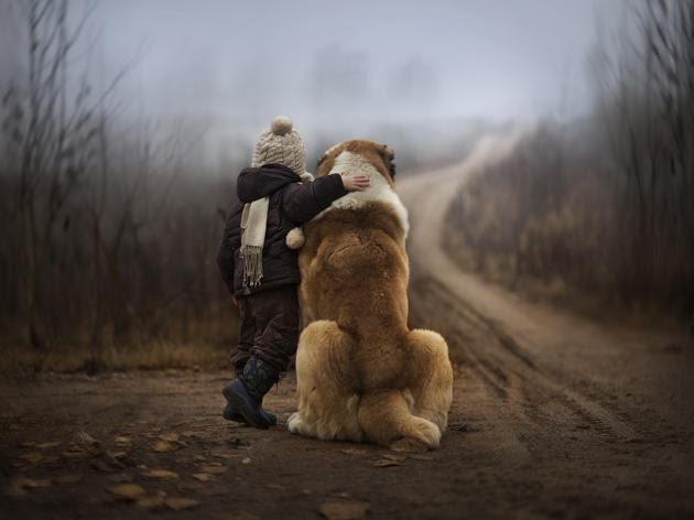 boy with dog back