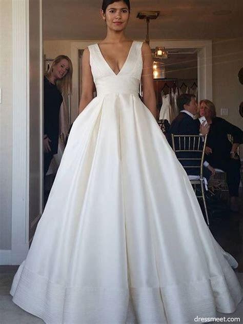 Ball Gown V Neck Open Back Satin Ivory Wedding Dresses
