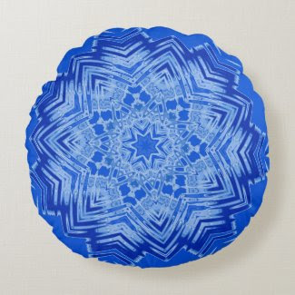 Custom Round Throw Pillow with Blue Mandala Design