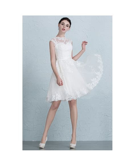 Lace A Line Short Wedding Dresses Reception Tulle Style