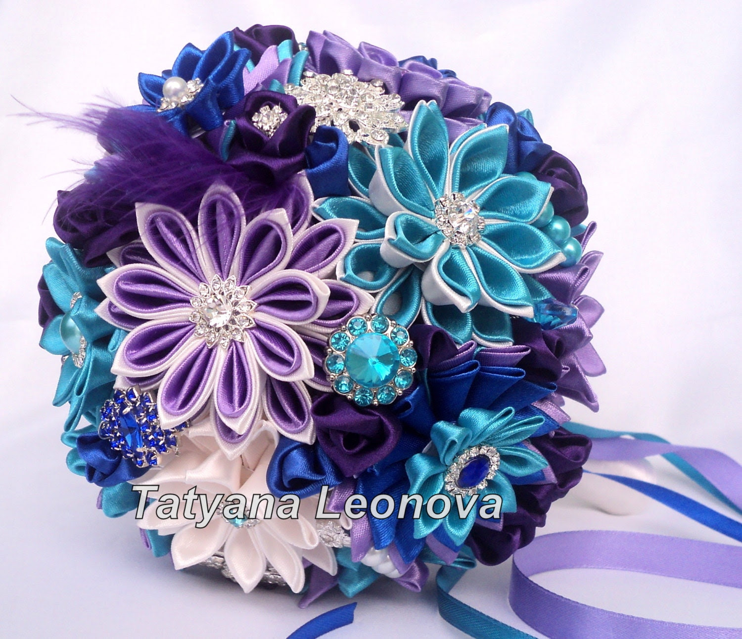 """Fabric Wedding Bouquet, Brooch bouquet Turquoise, ivory, blue and Purple 7"""""""